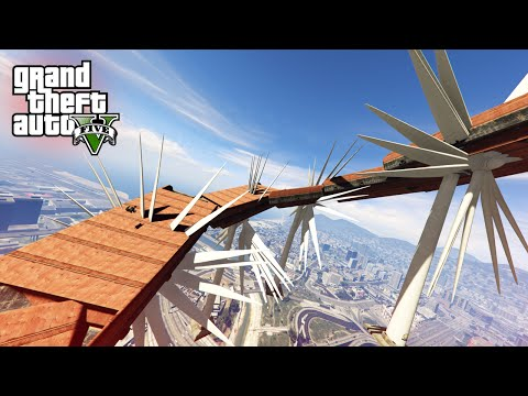 GTA V Funny Moments - Crazy Sky Stunt Challenge!