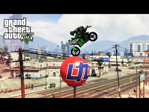 GTA V Top 10 Stunts - Luckiest Bike Stunts!