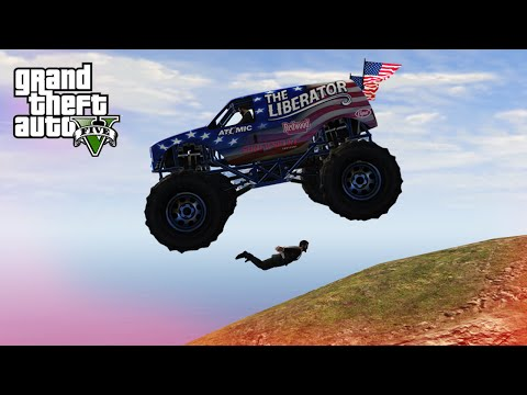 GTA V Top 10 Stunts - Skydive Under Monster Truck!