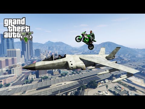 GTA V Top 10 Stunts - Landing Bikes On Planets!