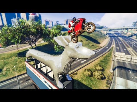 CRAZY STATUE STUNT! - (GTA V Stunts & Fails)