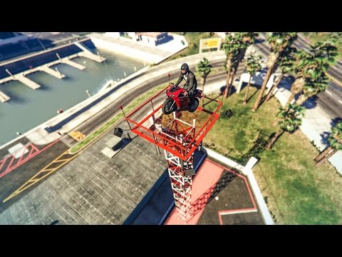 EPIC BIKE PRECISION STUNT! - (GTA V Stunts & Fails)