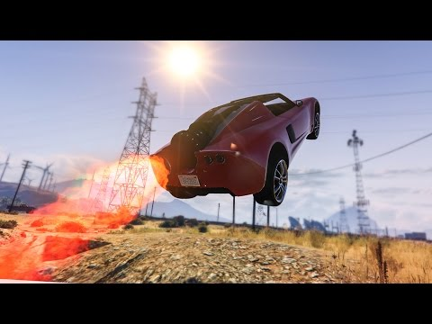 AWESOME ROCKET CAR STUNT! - (GTA 5 Stunts & Fails)