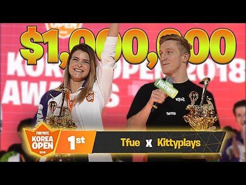 we won the 1 000 000 fortnite korea open tournament ft tfue kittyplays - korea open fortnite