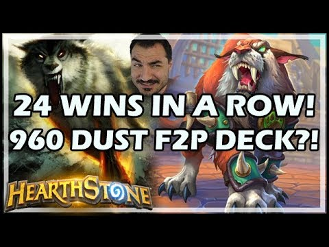24 WINS IN A ROW! 960 DUST F2P DECK?! - Rastakhan's Rumble Hearthstone
