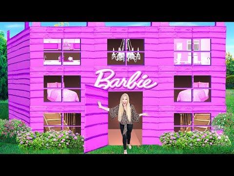 I Made a GIANT Barbie Cardboard Dream House! - Challenge
