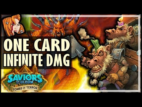 ONE CARD INFINITE DAMAGE COMBO OTK?! - Tombs of Terror Heroic Hearthstone
