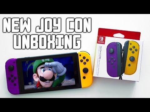 Nintendo Switch NEON Purple and Orange Joy Con Unboxing + Review (New Joycons 2019))
