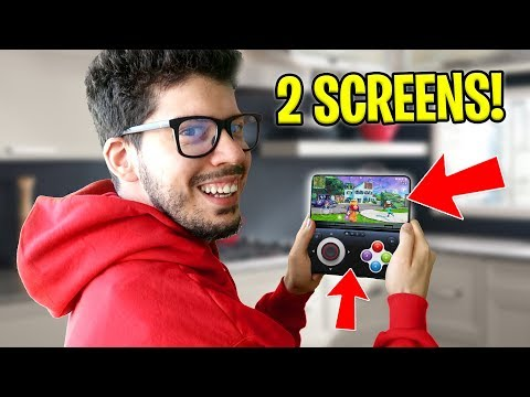 Playing FORTNITE on a DUAL SCREEN Smartphone! (BEST THING EVER)