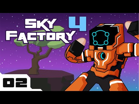 Let's Play Minecraft Sky Factory 4 Modpack - PC Gameplay Part 2 - Getting My Wood On