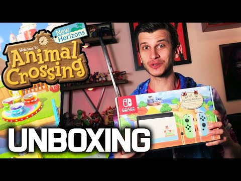 Animal Crossing Switch Console Unboxing! NEW Joy Con, Dock, Switch Bundle Animal Crossing Review!