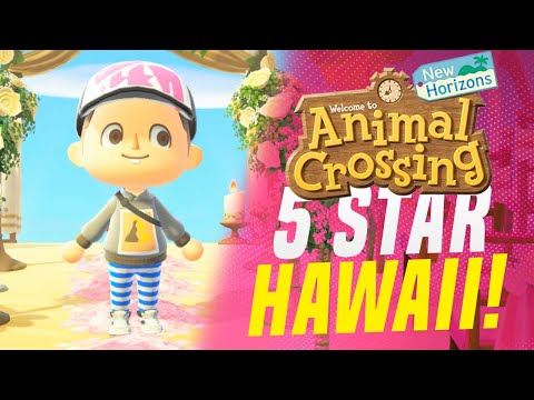 THIS 5 Star Hawaiian Paradise! Animal Crossing New Horizons Island Tour (Animal Crossing Tips)