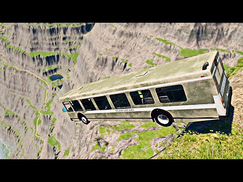 BUS High Mountain Jumps Down #1 | BeamNG Drive Car Crashes [4K 60FPS]