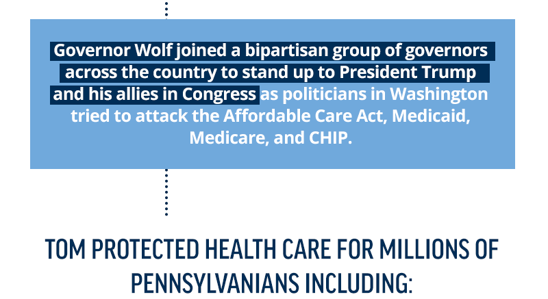 Governor Wolf joined a bipartisan group of governors across the country to stand up to President Trump and his allies in Congress as politicians in Washington tried to attack the Affordable Care Act, Medicaid, Medicare, and CHIP.