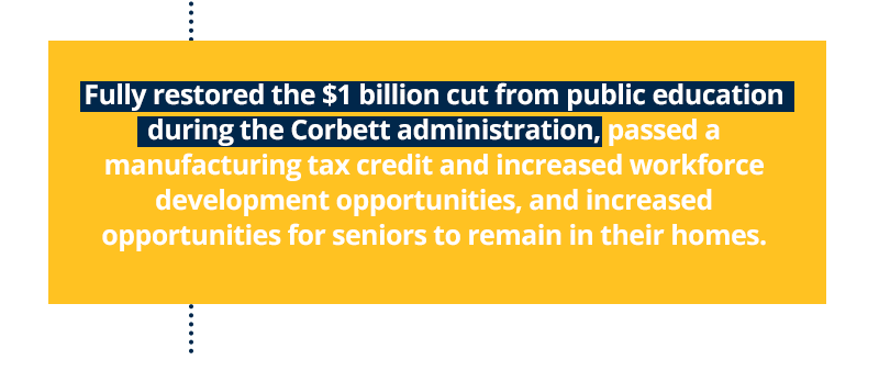 Fully restored the $1 billion cut from public education during the Corbett administration, passed a manufacturing tax credit and increased workforce development opportunities, and increased opportunities for seniors to remain in their homes.