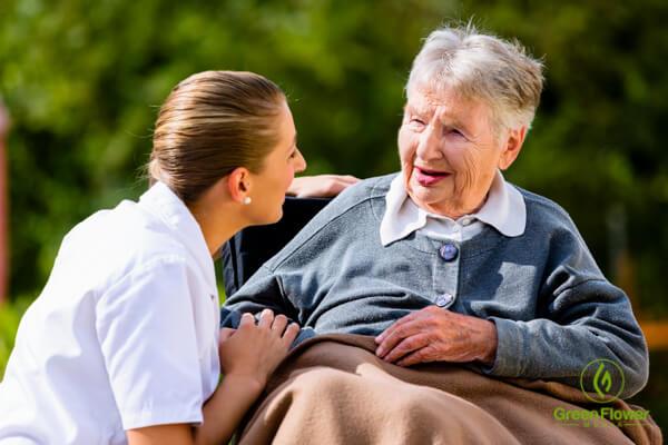woman talks to grandma