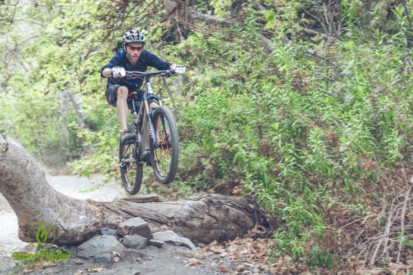 Shredding on a mountain bike