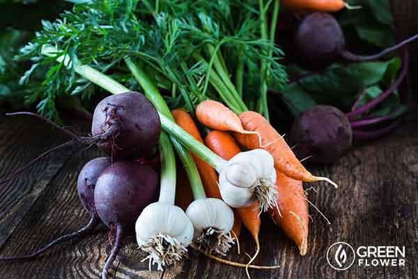 beets, garlic, and carrots