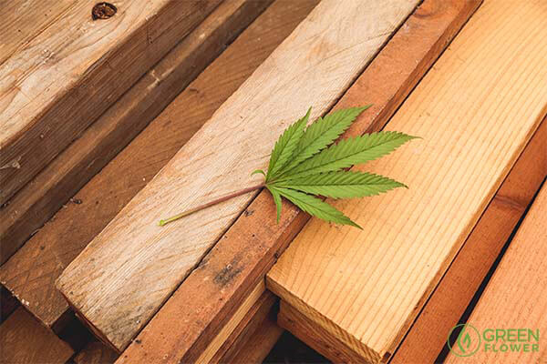 cannabis leaf on top of a piece of wood
