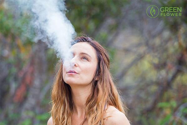 Mandee exhaling smoke