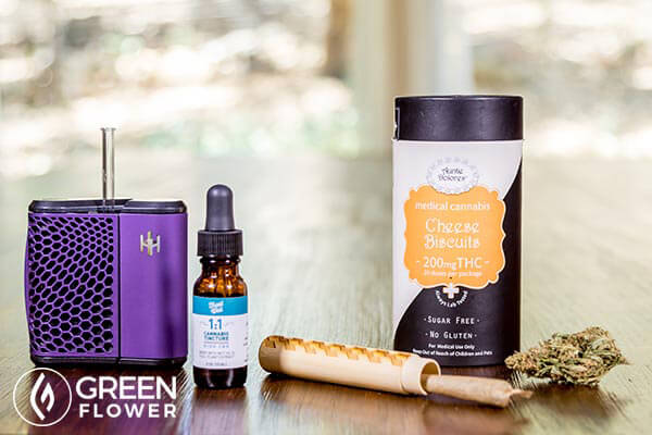cannabis vaporizer, tincture, edibles, and joint