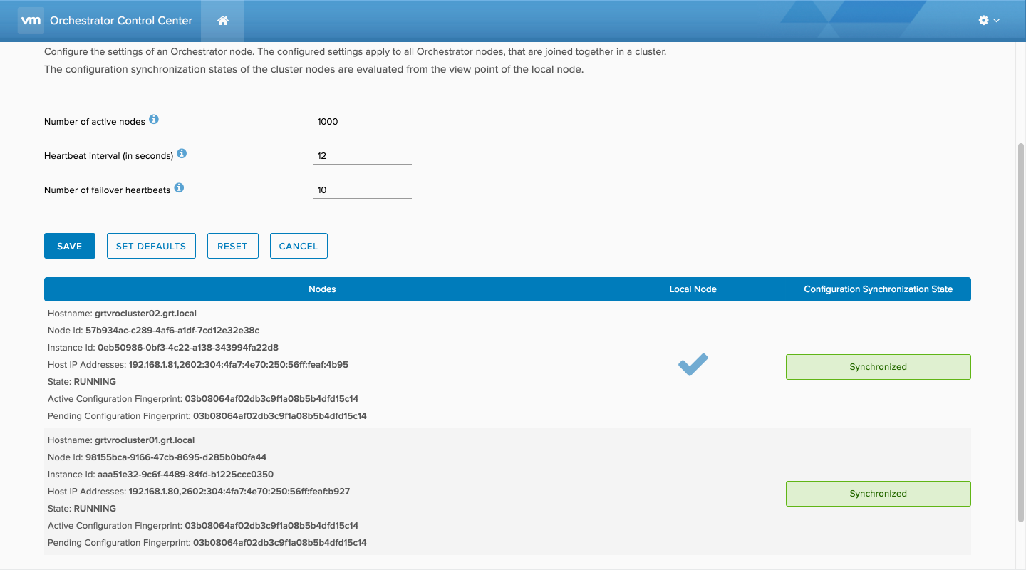 vRealize Orchestrator (vRO) Cluster with a PostgreSQL Database