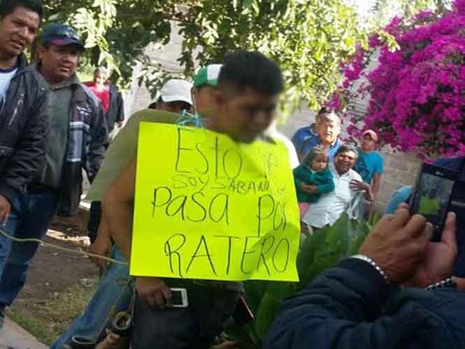 Humillan a ladrón en Hidalgo