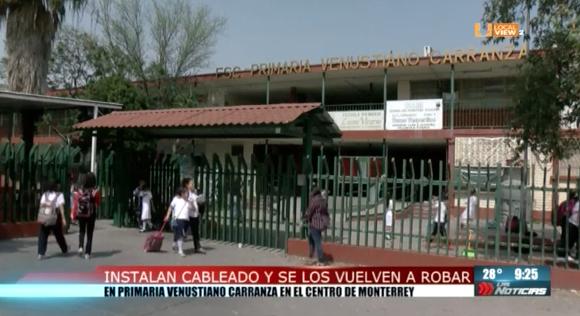 En menos de una semana se vuelven a robar cableado eléctrico de una escuela primaria, en el centro de Monterrey