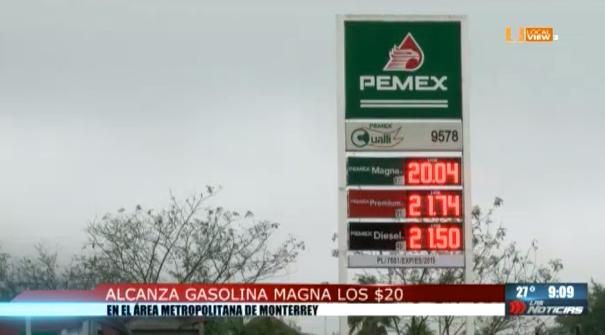 Y no baja el precio de las gasolinas. El litro de Magna se vende en 20 pesos