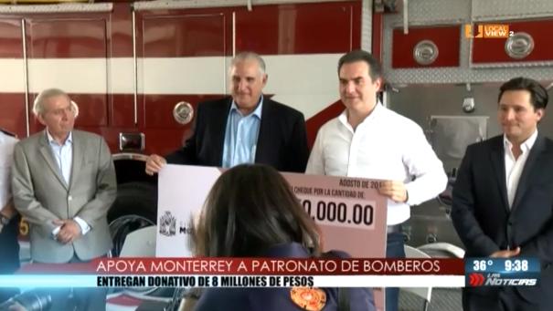 Bomberos de Nuevo León reciben donativo del municipio de Monterrey