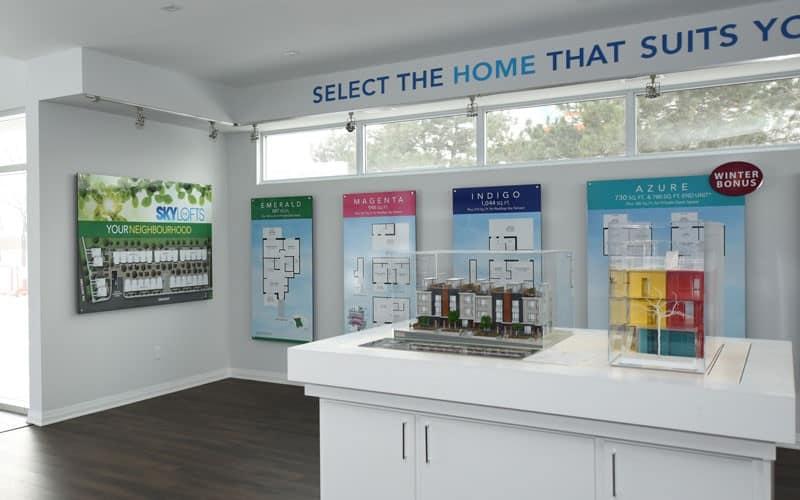 Interior of Skylofts Presentation Centre. Photo via Terra Media Design