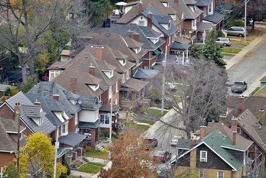 Aerial view of Hamilton housing, via the Hamilton Spectator