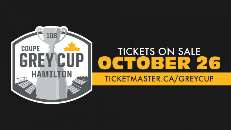 108th Grey Cup tickets on sale Tuesday, October 26