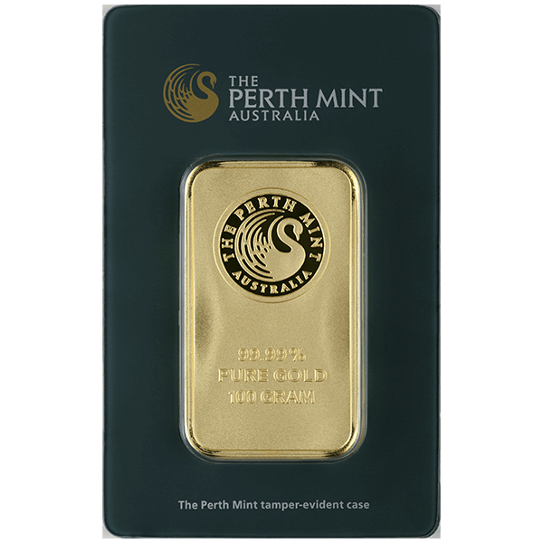 100 gram Perth Mint Gold Bar - Front View