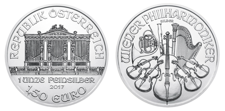 Silver Philharmonic Coin - Side by Side View