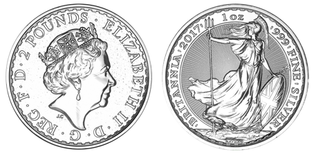 Silver Britannia Coin - Side by Side View