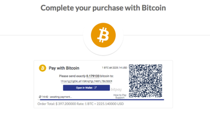 Complete your purchase with Bitcoin
