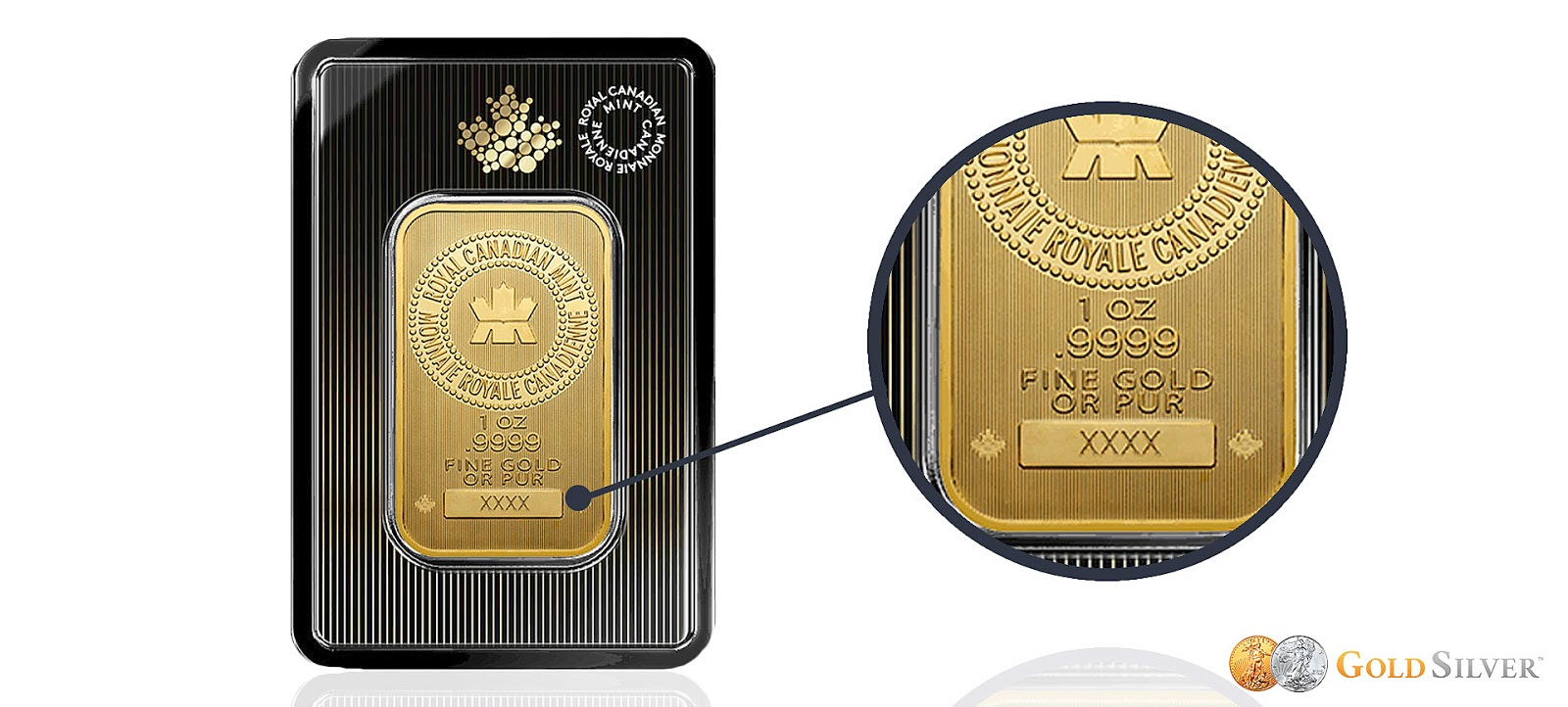 Stamping on a royal canadian mint gold bar