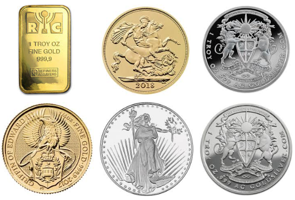 Gold and Silver bullion priced in troy ounces