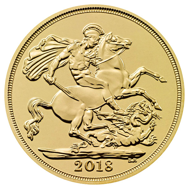 British Gold Sovereign 2018 Coin - Front View