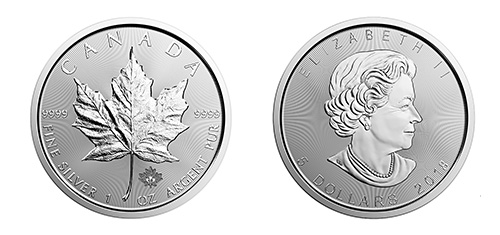 Canadian Silver Maple Leaf Coin - Front and Back View