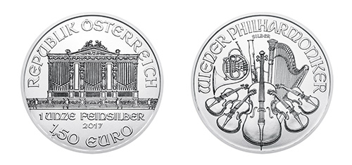 Austrian Silver Philharmonic Coin - Front and Back View