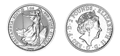 Silver Britannia Coin - Front and Back View