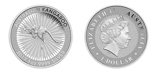 Australian Silver Kangaroo Coin - Front and Back View