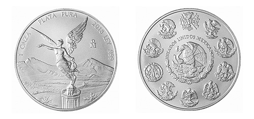 Mexican Silver Libertad Coin - Front and Back View
