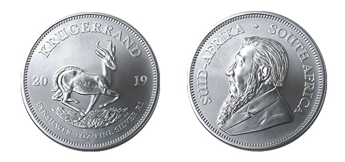 South African Silver Krugerrand Coin - Front and Back View