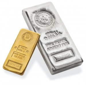 Gold and Silver Troy Ounce Bars - Front View