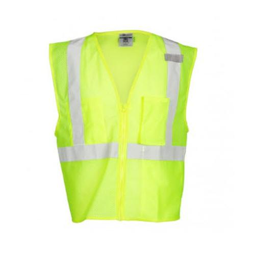 ML Kishigo 3 Pocket Zipper Mesh Lime Vest - Large
