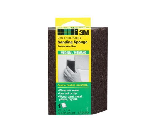 4 7/8 in x 2 7/8 in x 1 in 3M Detail Area/Angled Sanding Sponge - Medium