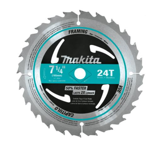 7 1/4 in Makita 24T Carbide-Tipped Circular Framing Saw Blade